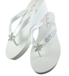 bc816d5b21187f Starfish Bridal Flip Flops with Rhinestone Bling - Bride wedding wedges-white   ivory