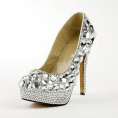 Pumps - $137.49 - Rubber Stiletto Heel Closed Toe Platform Pumps With Rhinestone (085026505) http://jjshouse.com/Rubber-Stiletto-Heel-Closed-Toe-Platform-Pumps-With-Rhinestone-085026505-g26505