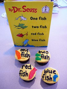 one fish  two fish  red fish  blue fish  cupcakes...gender neutral baby shower?  or dr. seuss day