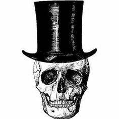 Skull wearing a top hat button