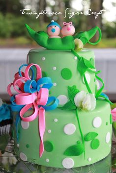 Baby Shower Cake For Twins Two Peas In A Pod Picture cakepins.com