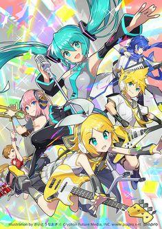 Ten obrazek jest taki KAWAII >w< Uwielbiam Vocaloidy >w< Najbardziej Hatsune Miku, to moja najulubieńsza piosenkarka ^-^