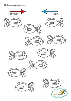 A learning aid for your child, All fish that shove to the right .- Eine Lernhilfe für dein Kind, Alle Fische die nach rechts schwimmen müssen rot… A learning aid for your child, all fish that swim to the right must be painted red, the others blue. Writing Practice Worksheets, Kids Math Worksheets, Teaching Kids, Kids Learning, Visual Perception Activities, Kindergarten Portfolio, Preschool Writing, Coding For Kids, Lessons For Kids