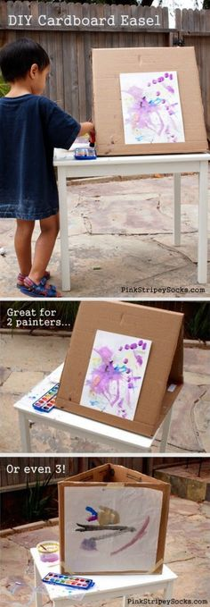 Kids love painting outside in the summer (and you can just hose them off). Make an easel for nothing that can accommodate up to three painters. Cheap fun for everyone!