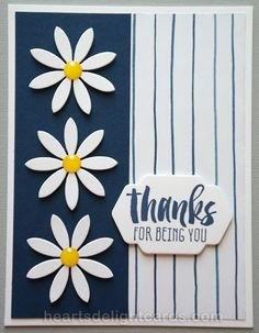 handmade thank you card from Heart's Delight Cards ... navy and white with spots of yellow ... crisp summery look ... luv the die cut daisies with yellow enamel dots ... Stampin' Up!