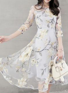 Organza Floral 1020140/1020140 Sleeves Mid-Calf Casual Dresses (1020140) @ floryday.com