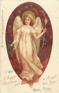 A HAPPY CHRISTMAS AND A BRIGHT NEW YEAR  angel holds light in her left hand, facing left/front, starry brown background