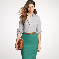 Jcrew Fall - pencil skirt and button down