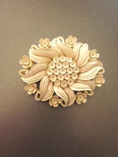 Vintage Meerschaum Flower Brooch. $72.00, via Etsy.