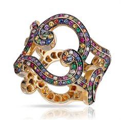 Rococo Lace Multi-coloured Yellow Gold Ring   Fabergé.com