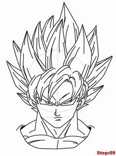 Drawing Goku Super Saiyan from Dragonball Z Tutorial Step 09