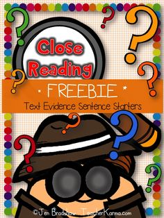 FREEBIE: Using text evidence sentence starters to prove answers....while close reading. Reading comprehension strategy. TeacherKarma.com