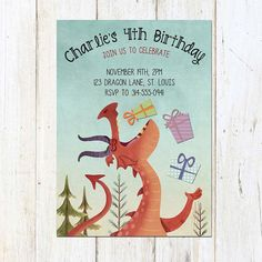 A fantastic dragon invitation, perfect for a little boy! I love it!