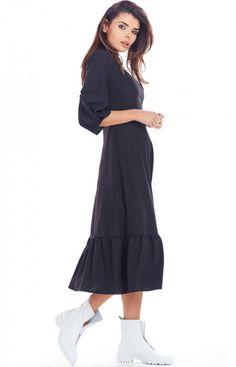 Awama Sukienka maxi z falbaną czarna A345 Model, Tunic, Mathematical Model, Pattern, Modeling