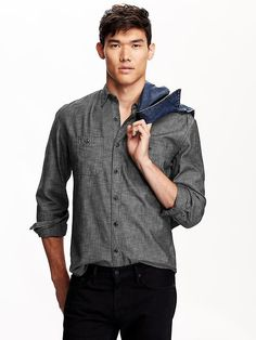 Men's Slim-Fit Chambray Shirts