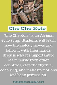"""Online music lessons for kids with an elementary music lesson """"Che Che Kole"""" for your homeschool or classroom music. Learn Singing, Singing Lessons, Music Lessons, Reading Music, Elementary Music, Music Therapy, Music Classroom, World Music, Music Education"""