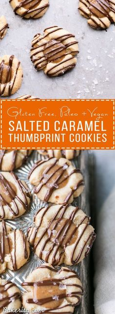 These Salted Caramel Thumbprint Cookies are super easy to make with only 6 ingredients total! The tender gluten-free and Paleo shortbread cookies are filled with a no-cook vegan caramel and topped off with a dark chocolate drizzle and flaky sea salt. They're perfect for the holidays!