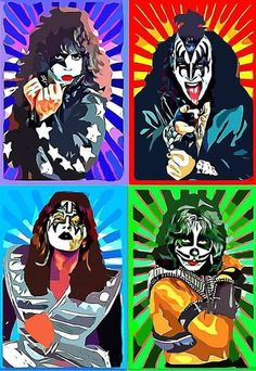 Pop Art Vintage, Vintage Kiss, Best Rock Bands, Cool Bands, Paul Stanley, Gene Simmons, Kiss Group, Kiss Members, Rock Poster