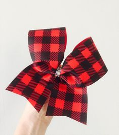 Red and Black Buffalo Plaid holiday cheer bow Big Cheer Bows, Cheer Mom, Big Bows, Cheer Stuff, Plaid Christmas, Green Christmas, Christmas Holidays, Christmas Decorations, Christmas Tree