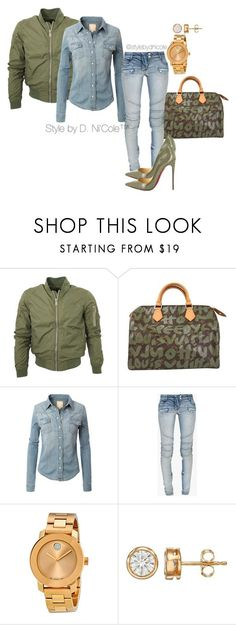 """Original Pin: """"Untitled #3093"""" by stylebydnicole ❤ liked on Polyvore featuring Louis Vuitton, LE3NO, Balmain, Christian Louboutin, Movado, women's clothing, women's fashion, women, female and woman"""