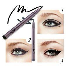 THE ONE EYE LINER STYLO  *liquid eye liner yang tahan lama dengan ujung lembut, untuk garis yang terlukis lembut tanpa terasa kasar atau terputus. Dengan warna intens untuk garis tegas yang dramatis..  Tersedia 3 warna : black,brown,blue Rp. 139.000