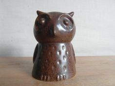 Vintage-danish-money-bank-owl-brown