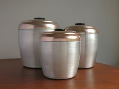 Vintage Aluminum and Copper Canisters - 3 Spun Brushed Aluminum Canisters, Pink Copper Lids - Flour, Sugar, Coffee Canisters - Deco Letters by EightMileVintage on Etsy