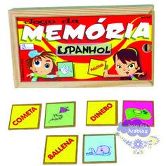 Memória Espanhol, Memória Espanhol Simque, Brinquedos Simque, Brinquedos Educativos, Brinquedos de Madeira, Jogos didáticos, Jogos de Madeira, Jogo Didático