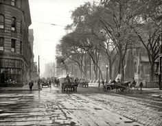 """1916. """"St. Catherine Street, Montreal, Quebec."""" Je me souviens. 8x10 inch dry plate glass negative, Detroit Publishing Company"""