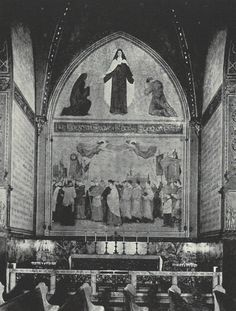 """This c. 1939 photo shows the chapel at the Church of St. Paul the Apostle, NYC, devoted to St. Therese of Lisieux, """"the Little Flower."""" (The altar was later removed.) This chapel once honored St. Justinius but was dedicated to St. Therese after her canonization in 1921. The murals were created by American artist Augustus Vincent Tack. The lower mural shows a procession through the streets of Lisieux at the time of St. Therese's beatification. (From a booket by Paulist Fr. Joseph Malloy, pg…"""