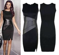 vestido curto com detalhes em couro sintético - frete grátis