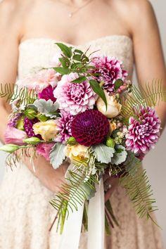 Dahlia, Rose, Lisianthus, Snowberry, Dusty Miller, Fern and Pink Jasmine Bouquet