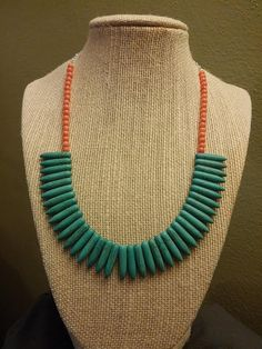 Turquoise howlite spikes with coral by LovelyLittleRuby on Etsy, $25.00