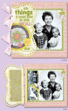 scrapbook layout tips on how to talk about difficult things or to add closure to an event in your life.