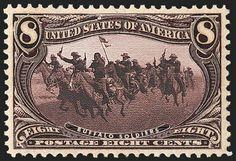 Timbre américain représentant un régiment de cavalerie des Buffalo Soldiers, qui avaient une bonne réputation d'habiletés équestres. Cependant, ils furent souvent victimes de préjugés raciaux aussi bien de la part des membres de l'armée américaine que des civils et ce, malgré leurs nombreuses contributions militaires. En fait, ces régiments étaient pour la plupart sous le commandement d'officiers blancs et ils étaient souvent envoyés en première ligne sur le champs de bataille.