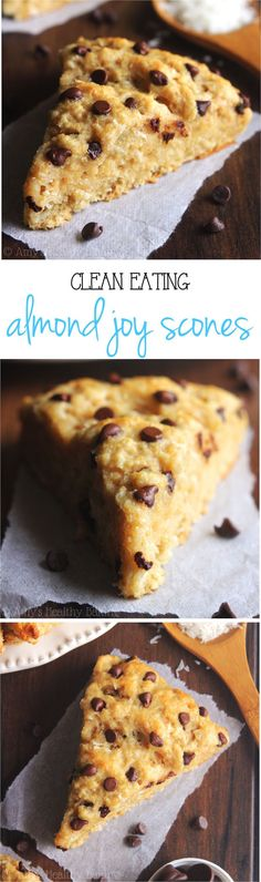 Almond Joy Scones -- they taste like the candy bars! So easy, supremely tender & packed with almost of protein!Clean-Eating Almond Joy Scones -- they taste like the candy bars! So easy, supremely tender & packed with almost of protein! Almond Joy, Almond Bars, Almond Flour, Clean Eating Vegetarian, Vegetarian Cooking, Clean Eating Recipes, Healthy Sweets, Healthy Baking, Breakfast Recipes