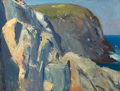 """Bluffs, Monhegan Island,"" Edward Hopper, oil on wood, 12 × 16 Whitney Museum of American Art. Abstract Landscape, Landscape Paintings, Landscapes, Edward Hopper Paintings, Monhegan Island, Whitney Museum, Time Art, American Artists, Lovers Art"
