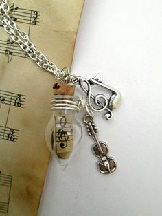 Handmade Tiny Violin and Clef Charm Glass Vial Necklace, Music Intrument Jewelry Gift Music Jewelry, Cute Jewelry, Jewelry Crafts, Jewelry Accessories, Music Necklace, Key Necklace, Necklace Extender, Teardrop Necklace, Charm Jewelry