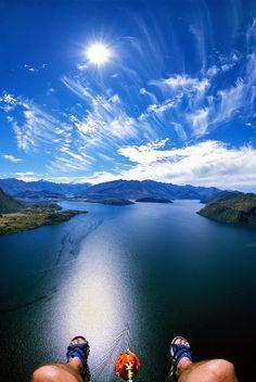 Parasailing in Lake Wanaka, Wanaka, New Zealand.