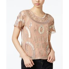Beau Bar Iii Embellished Illusion Top, ($27) ❤ Liked On Polyvore Featuring Tops,