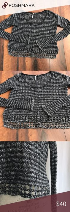 Free People Sweater Excellent used condition. Black and white sweater. Free People Sweaters Crew & Scoop Necks