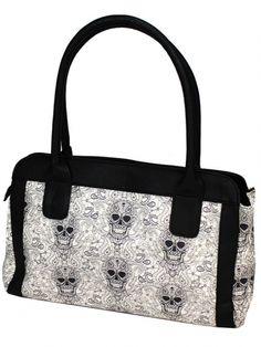 "Women's ""Logo Two Tone"" Handag by Sullen Clothing (White/Black) #inkedshop #logo #skull #patterns #design #purse"