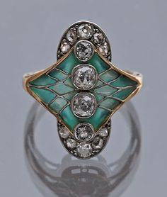 Belle Epoque Plique-a-jour ring 6-1/2 U.S. enamel dia. ring (6 old cut 8 rose cut) diamonds.
