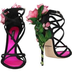 Dolce & Gabbana  Strappy Rose Heel Sandal ($1,995) ❤ liked on Polyvore featuring shoes, sandals, dolce gabbana sandals, strap shoes, high heel shoes, rose shoes and buckle sandals #dolceandgabbanashoeshighheels