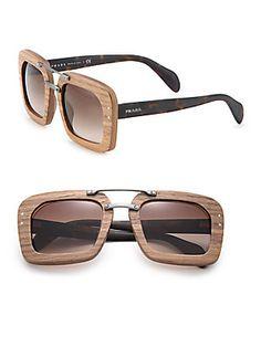 Prada Wooden 51MM Square Sunglasses