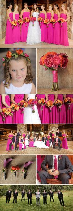 Hochzeit in Pink: Brautjungfernkleider in Pink, dazu die Herren mit Krawatte in Pink. Außerdem: Toller Brautstrauß in Pink und Orange © Pepper Nix Photography