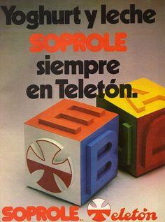Cartel publicitario de Soprole en la Séptima Teletón de 1987