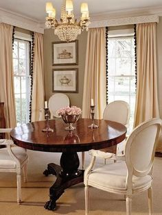 dining or library/game or entry table or all 3 - + chairs, chandelier & drapes