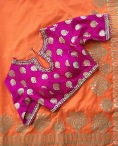 Pink and silver blouse Pattu Saree Blouse Designs, Blouse Designs Silk, Designer Blouse Patterns, Stylish Blouse Design, Blouse Models, Work Blouse, Indian Designer Wear, Sarees, Pink Blouses