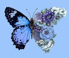 Blue Butterfly in Bloom Art Print by ECMazurDesign - X-Small Blue Butterfly Tattoo, Butterfly Tattoos For Women, Butterfly Drawing, Blue Butterfly Wallpaper, Butterfly Watercolor, Flower Tattoos, Small Tattoos, Bloom Tattoo, Carnation Tattoo